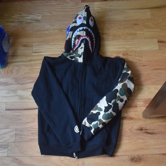 589078c9 Bape Jackets & Coats | Jacket Black And Camo Shark Tiger Hoodie ...